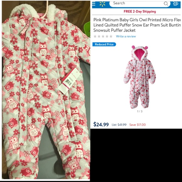 Pink Platinum Other - New with tags 3-6 month snow suit